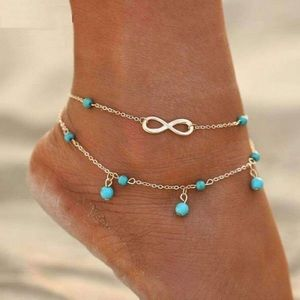 Jewelry - Gold Infinity Turquoise Bead Double Ankle Bracelet